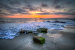 природа, побережье, берег, море, закат, пена, волны