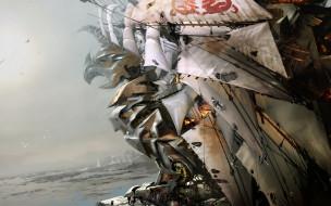 грифон, море, паруса, техника, корабль, лед, люди