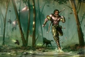 фэнтези, существа, воин, лучник, деревья, лес, бег, монстр, испуг