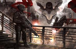 фэнтези, роботы,  киборги,  механизмы, оружие, киборг, солдат, будущее