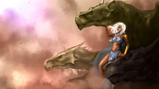 фэнтези, красавицы и чудовища, девушка, дракон, фон