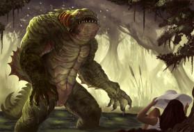 фэнтези, существа, панама, девушка, лес, ящер, монстр