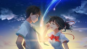 аниме, kimi no na wa, парень, девушка, закат
