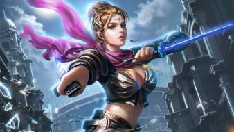 фэнтези, девушки, воин, фентези, меч, девушка, арт