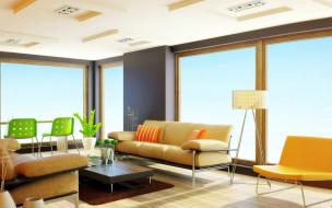 интерьер, гостиная, окна, стол, стулья, диваны