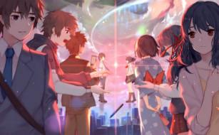 аниме, kimi no na wa, miyamizu, mitsuha, tachibana, taki