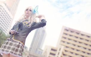 разное, cosplay , косплей, девушка, бабочка, блондинка, psp, cosplay, kashiwazaki, sena