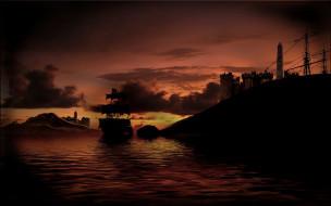 ночь, парусник, море