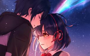 аниме, kimi no na wa, девушка, взгляд, фон, парень