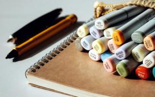 разное, канцелярия,  книги, маркеры, блокнот