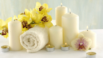 разное, свечи, орхидеи, полотенце, спа