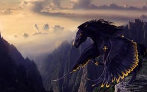 фэнтези, пегасы, черный, пегас, полет, горы, крылатый, конь