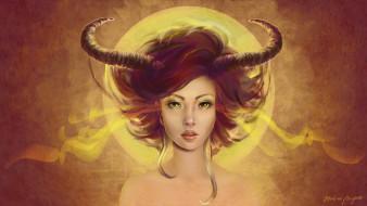фэнтези, демоны, взгляд, арт, рога, демоница
