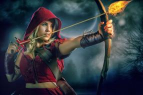 разное, cosplay , косплей, робин, гуд, красная, шапочка, огонь, стрела, лук, девушка