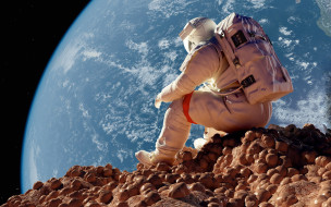 земля, космос, пространство, сидит, орбита, Космонавт