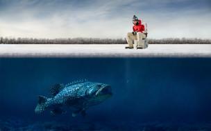 рыбак, рыбалка, зима, лед, рыба