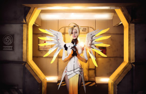 разное, cosplay , косплей, sugoi, cosplay, uniform, bishojo, subarashii, blonde, oppai, mecha, seifuku, pretty, blue, eyes, girl, woman, angel, mercy, overwatch, game