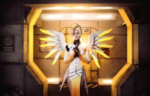 разное, cosplay , косплей, sugoi, cosplay, uniform, bishojo, subarashii, blonde, oppai, mecha, seifuku, pretty, blue, eyes, girl, woman, angel, mercy, overwatch, game