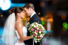 разное, мужчина женщина, свадьба, цветы, фата, счастливая, пара