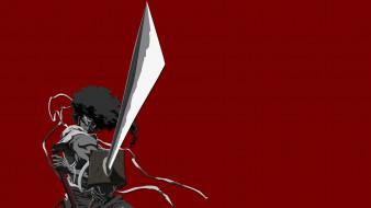 afro samurai, аниме, парень, фон, взгляд, меч