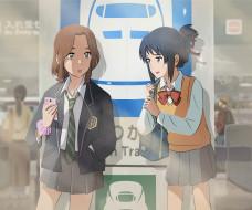 обои для рабочего стола 4535x3780 аниме, kimi no na wa, девушки, взгляд, фон