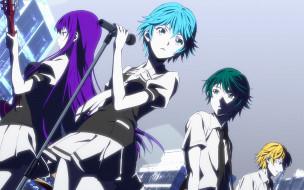 fuuka, аниме, девушки, взгляд, фон