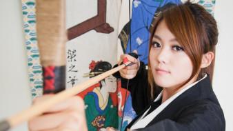 девушки, -unsort , азиатки, лук, кимоно, азиатка