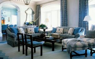 интерьер, гостиная, стол, кресла, диваны, подушки