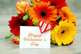 праздничные, день святого валентина,  сердечки,  любовь, букет, гвоздика, пожелание, надпись, герберы, сердечко