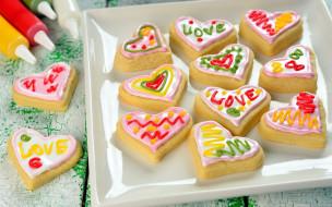 праздничные, день святого валентина,  сердечки,  любовь, сердечки, надписи, угощение, печенье