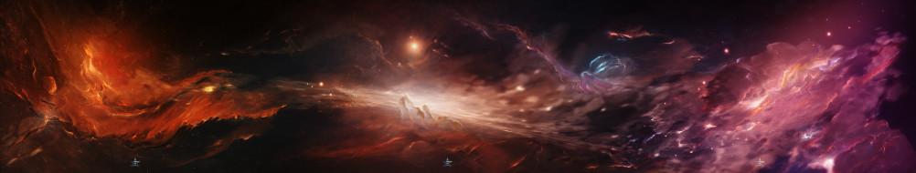 обои для рабочего стола 15012x2849 космос, арт, галактика, туманность