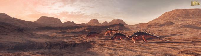 3д графика, животные , animals, горы, динозавры