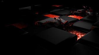 3д графика, абстракция , abstract, свет, тёмный, огонь, куб, сплав