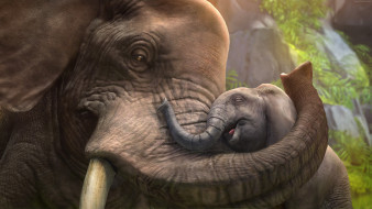 3д графика, животные , animals, хоботы, любовь, слониха, слоны, слоненок