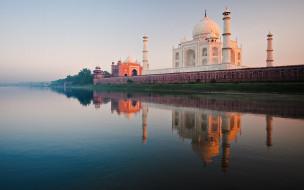тадж-махал,  индия, города, тадж-махал , индия, рассвет, река, утро, мечеть