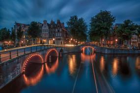 города, амстердам , нидерланды, ночь, огни