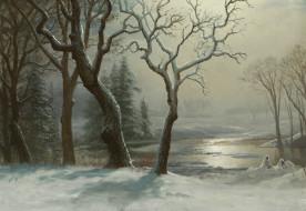 рисованное, природа, картина, пейзаж, снег, альберт, бирштадт, деревья, река, зима, в, йосемити