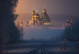 города, - православные церкви,  монастыри, новый, иерусалим, собор, купола, кресты, свет, солнца, дымка, тумана, снег, ilya, melikhov