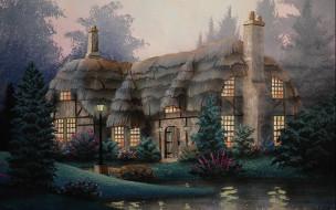 рисованное, города, дом, свет, пруд, ели, туман, thomas, kinkade