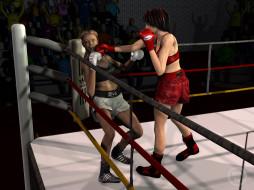 3д графика, спорт , sport, девушки, взгляд, фон, ринг, бокс