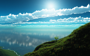 3д графика, природа , nature, облака, озеро