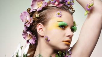 девушки, -unsort , креатив, лицо, перья, орхидеи, цветы