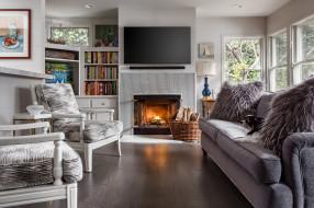 интерьер, камины, комната, диван, кресла, камин
