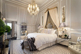 интерьер, спальня, кровать, светильник
