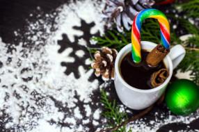 праздничные, угощения, шарик, шишка, кофе, леденец, корица