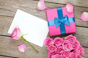 праздничные, подарки и коробочки, розы, лепестки, коробка, подарок, бумага