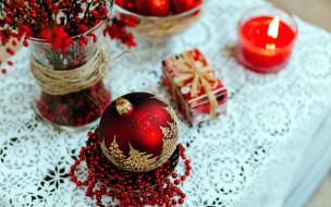 праздничные, - разное , новый год, свеча, шарик, бусы