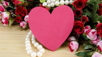 праздничные, день святого валентина,  сердечки,  любовь, бусы, розы, сердце