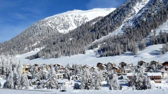 города, - пейзажи, снег, дома, горы