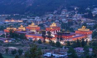 тхимпху,  бутан, города, - буддийские и другие храмы, здания, комплекс, огни, панорама